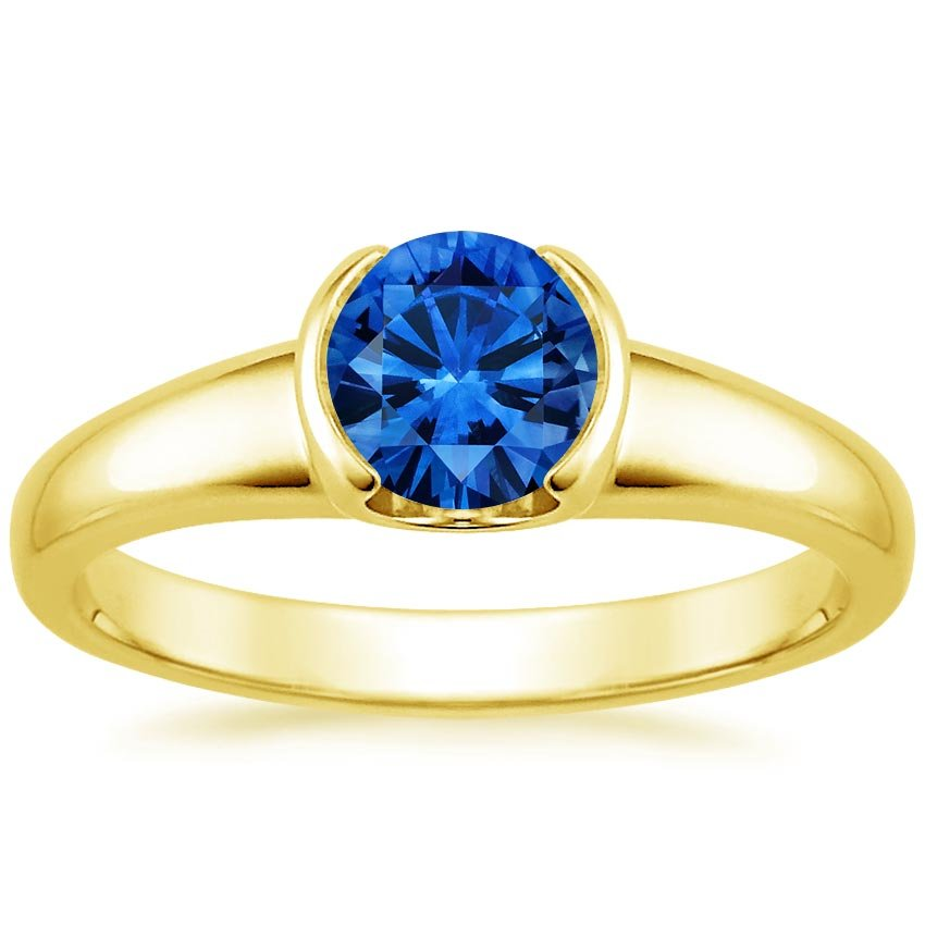 Sapphire Petite Semi-Bezel Ring in 18K Yellow Gold with 6mm Round Blue Sapphire