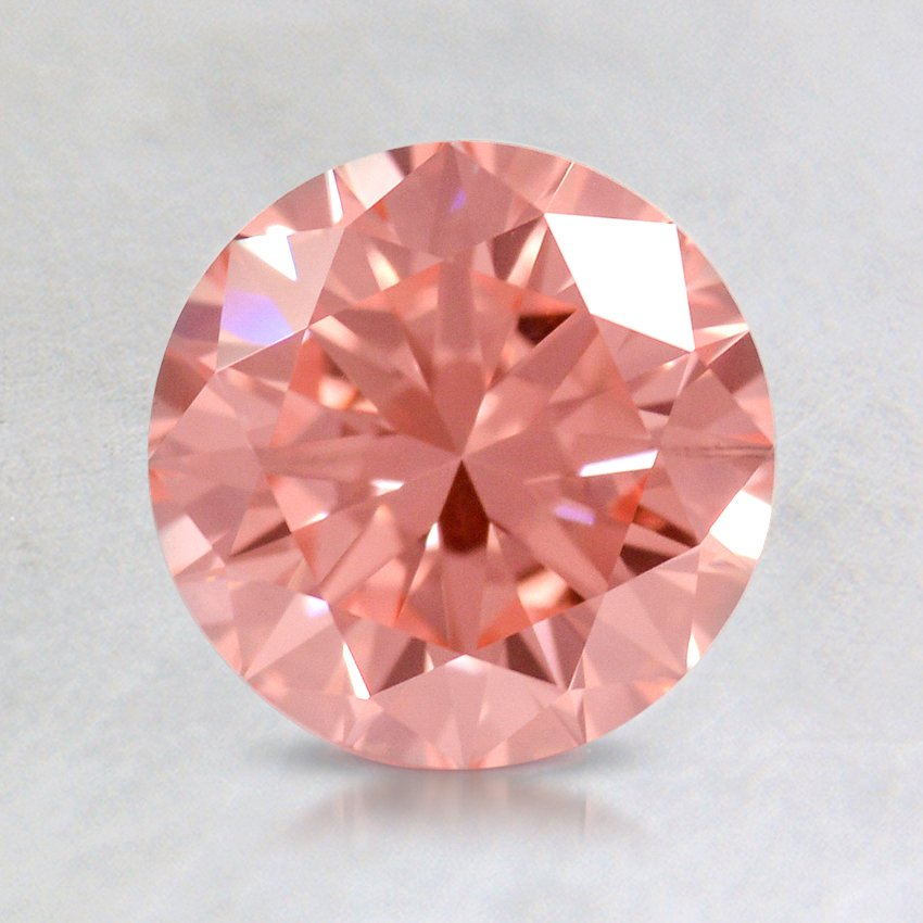 0.71 ct. Lab Created Fancy Vivid Pink Round Diamond, top view