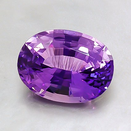 8x6mm Unheated Purple Oval Sapphire, top view