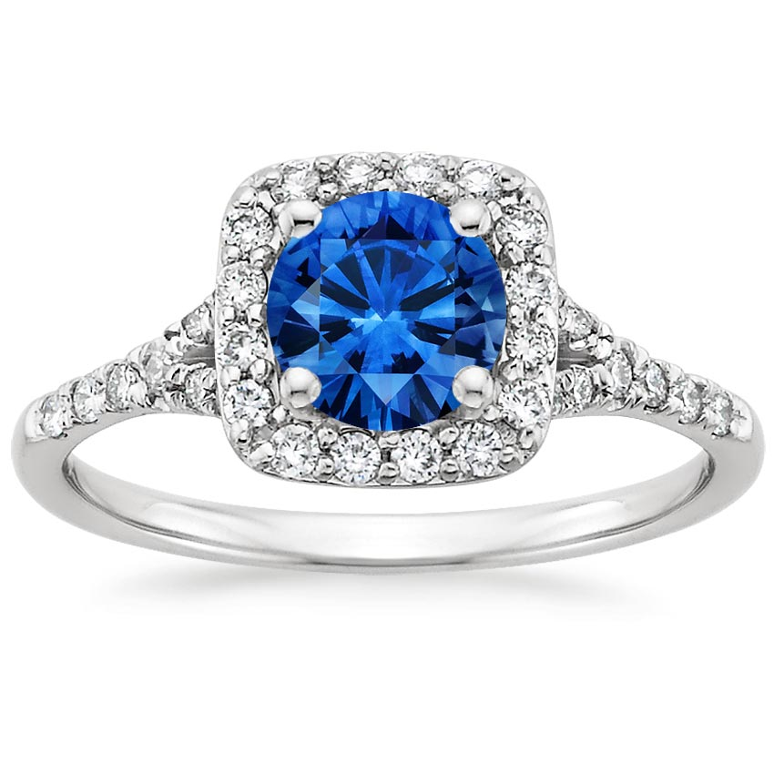 Platinum Sapphire Harmony Diamond Ring, top view
