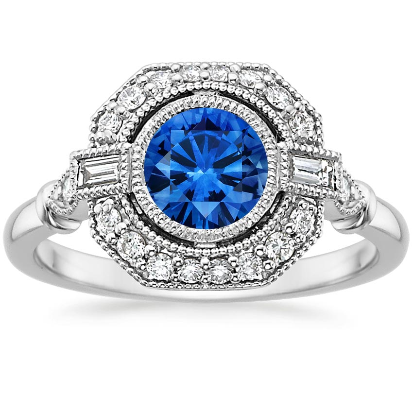 Sapphire Ostara Diamond Ring (1/4 ct. tw.) in 18K White Gold with 6mm Round Blue Sapphire