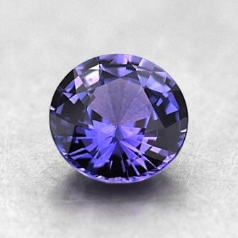 6mm Purple Round Sapphire, top view