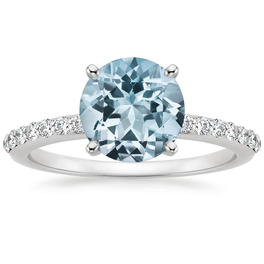 Aquamarine Petite Shared Prong Diamond Ring (1/4 ct. tw.) in 18K White Gold