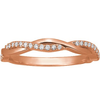 14K Rose Gold Twisted Vine Diamond Ring, top view