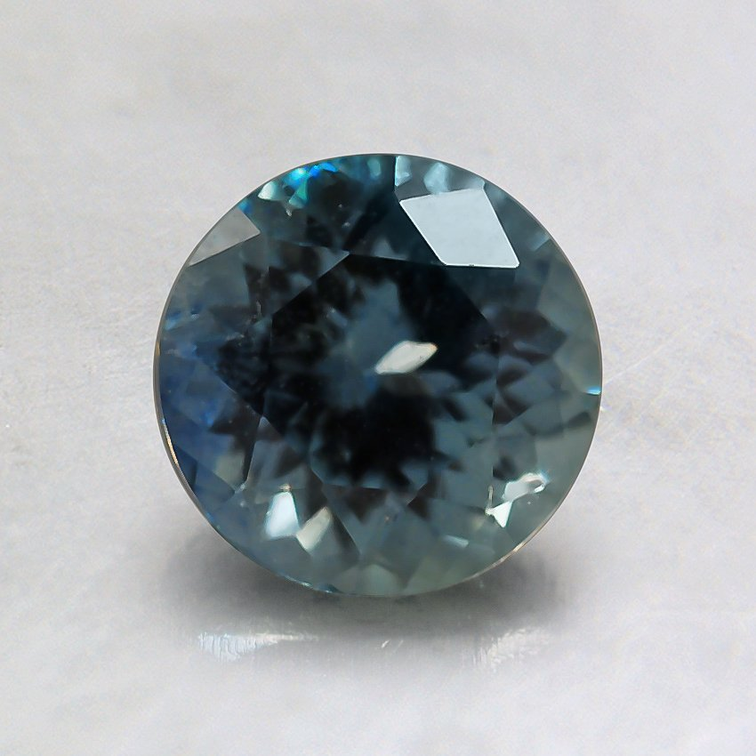 6mm Montana Light Teal Round Sapphire, top view