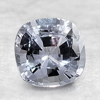 7.5mm White Cushion Sapphire, top view