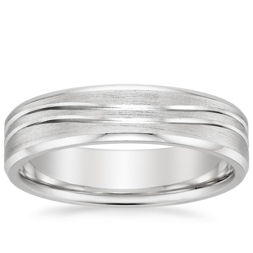 18K White Gold Equinox Ring with Beveled Edges, top view