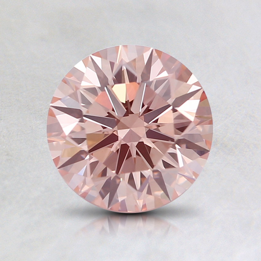 1.09 Ct. Fancy Light Orangy Pink Round Lab Created Diamond