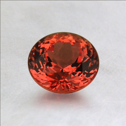 5.8mm Orange Round Sapphire, top view