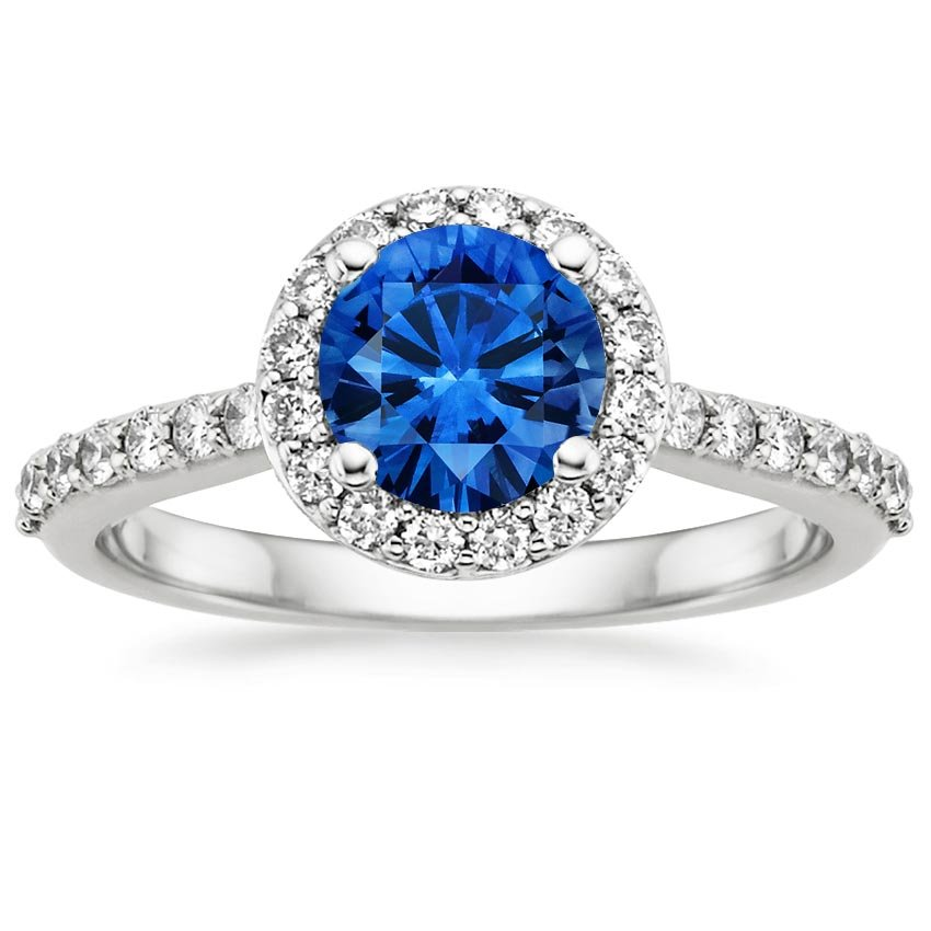 18K White Gold Sapphire Halo Diamond Ring with Side Stones (1/3 ct. tw.), top view