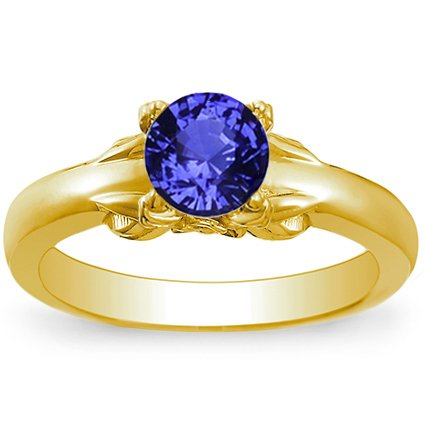 18K Yellow Gold Sapphire Bouquet Ring, top view