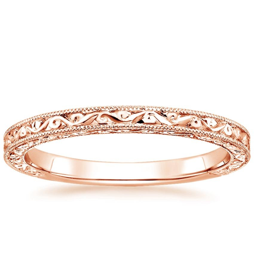 Rose Gold Floral Milgrain Ring