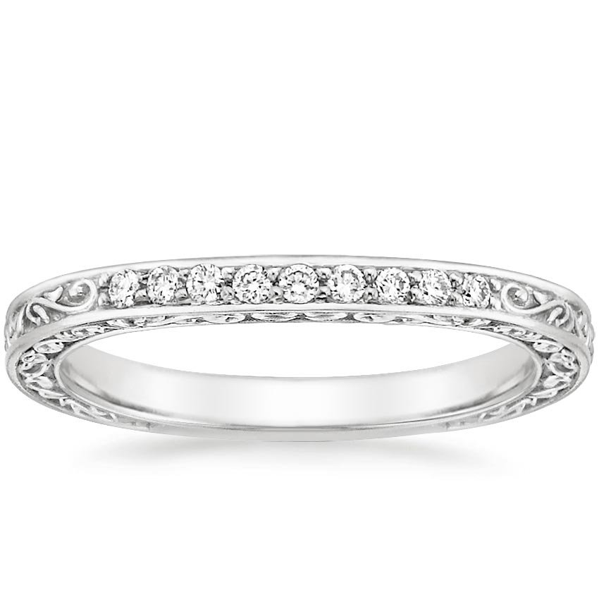 Antique Scroll Bands: Contoured Delicate Antique Scroll Ring In 18K White Gold