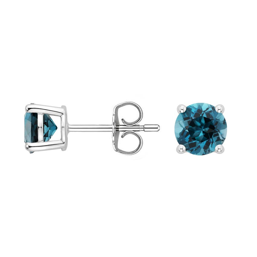 set bezel stud earrings front blue topaz