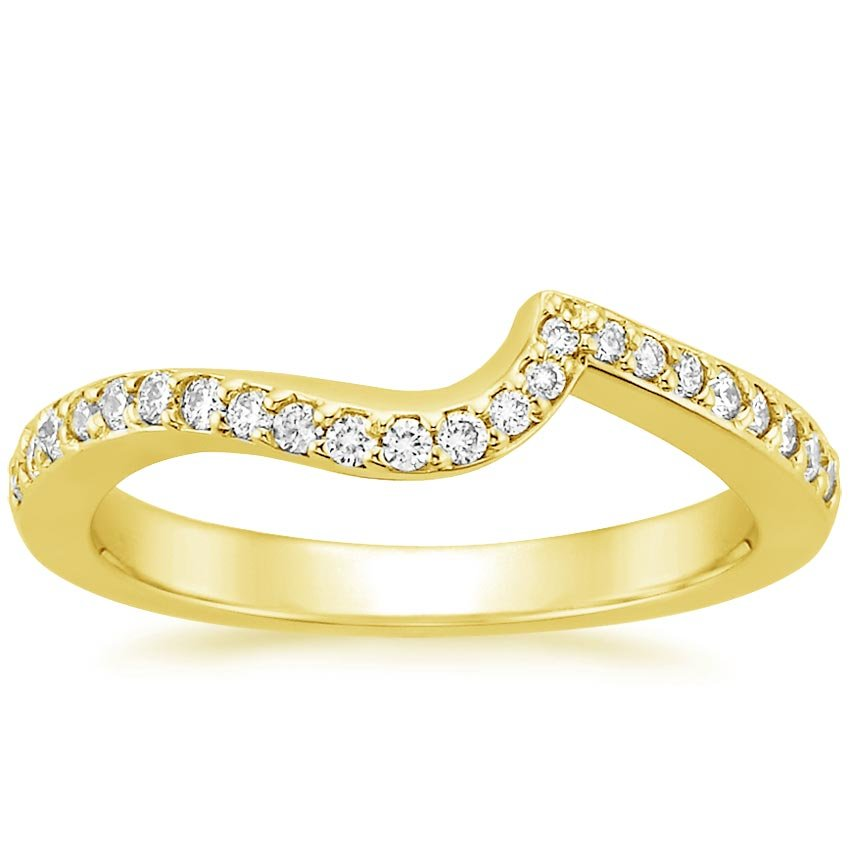 18K Yellow Gold Seacrest Ring with Diamond Accents, top view