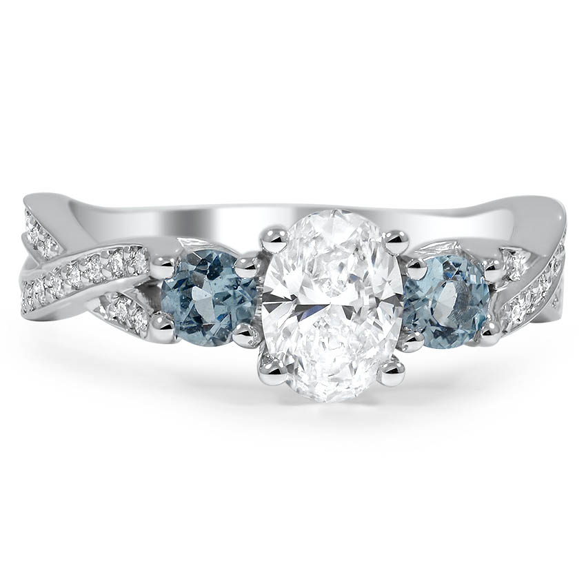 Custom Three Stone Twisted Diamond Engagement Ring with Aquamarine Accents