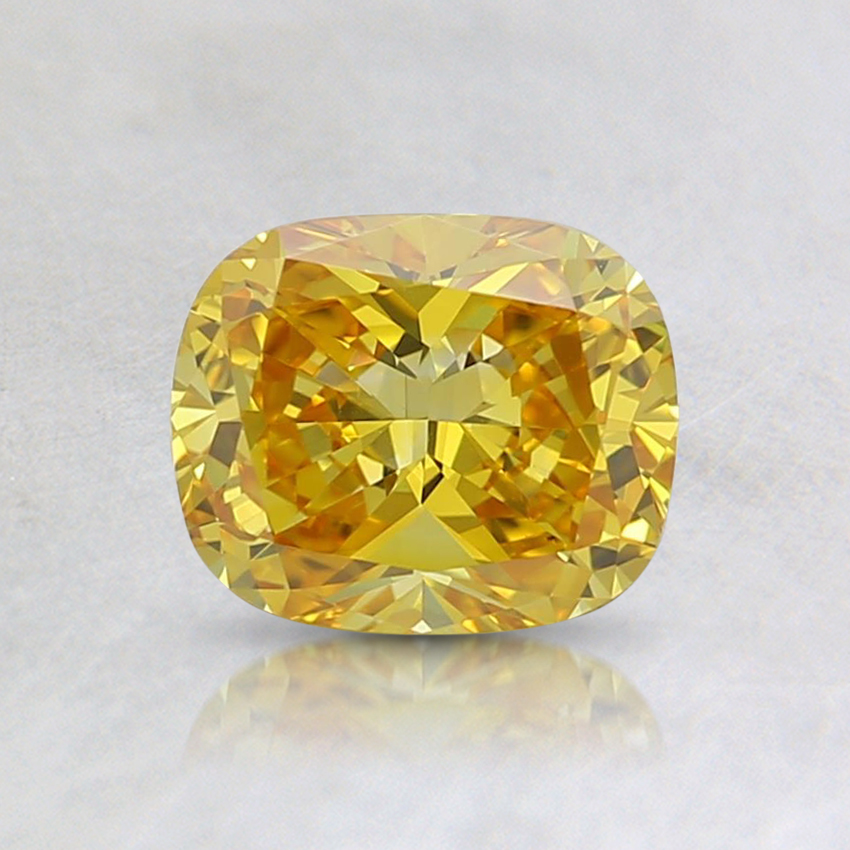 0.70 Ct. Fancy Vivid Yellow Cushion Lab Created Diamond