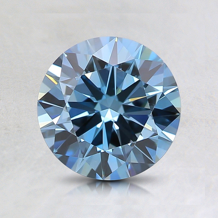 1.15 Ct. Fancy Intense Greenish Blue Round Lab Created Diamond