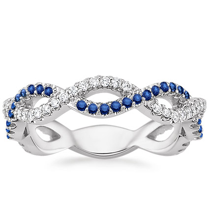 Eternal Twist Diamond And Sapphire Ring In 18k White Gold