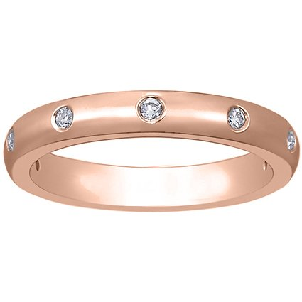 14K Rose Gold Flush Set Diamond Ring (1/10 ct.tw.), top view