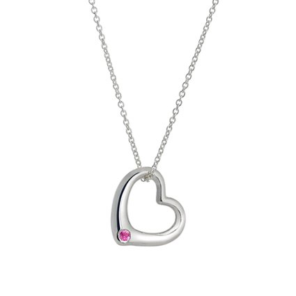 Silver Heart Pendant with Ethically Sourced Pink Sapphire, top view