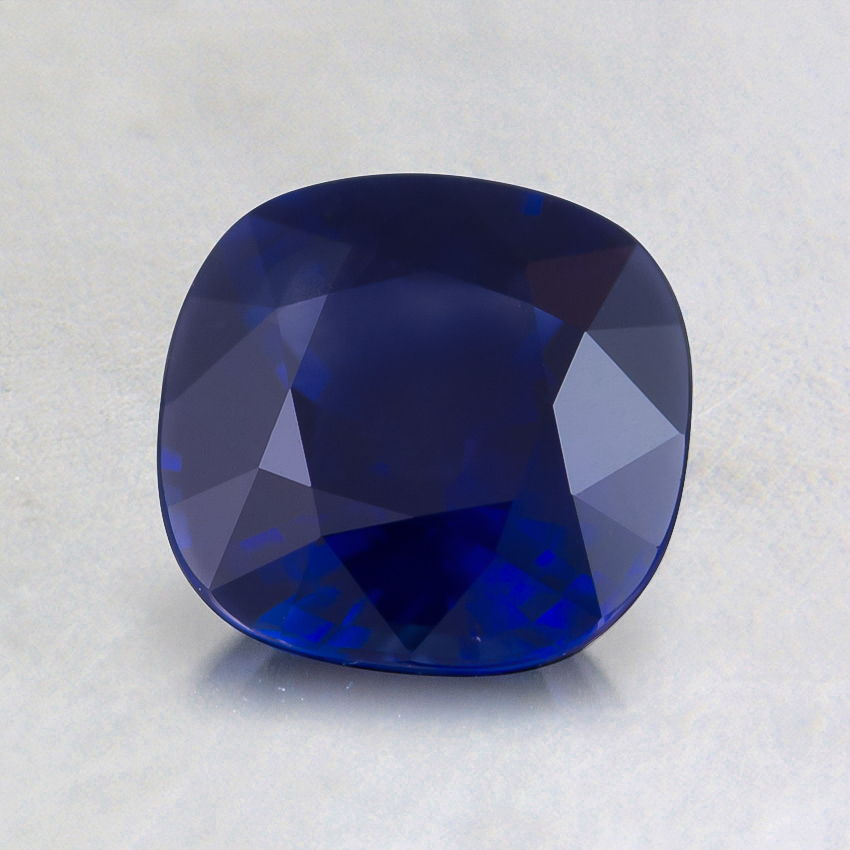 6.5mm Premium Dark Blue Cushion Sapphire, top view
