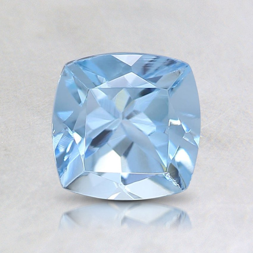 6mm Fine Cushion Aquamarine, top view