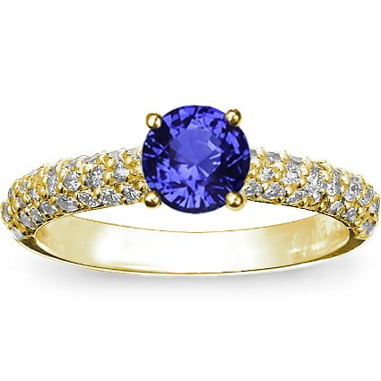 Sapphire Pavé Diamond Multi Row Ring in 18K Yellow Gold with 6mm Round Blue Sapphire