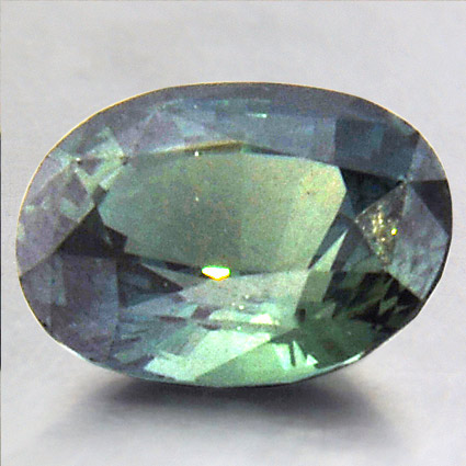 10.7x8mm Premium Unheated Green Oval Sapphire, top view