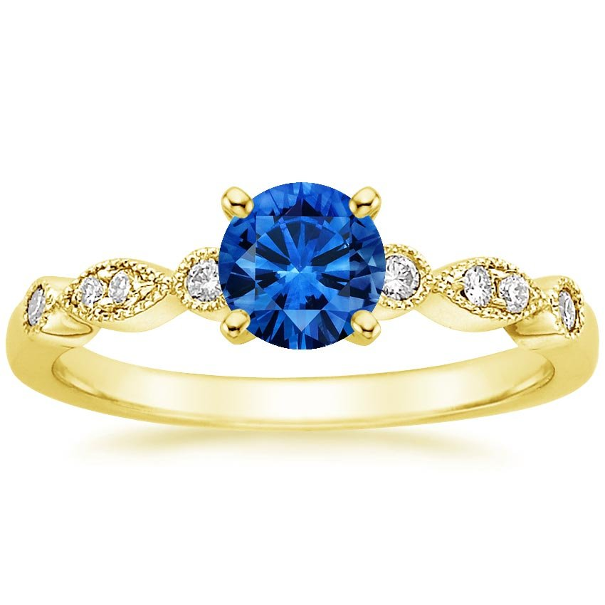 18K Yellow Gold Sapphire Tiara Diamond Ring, top view