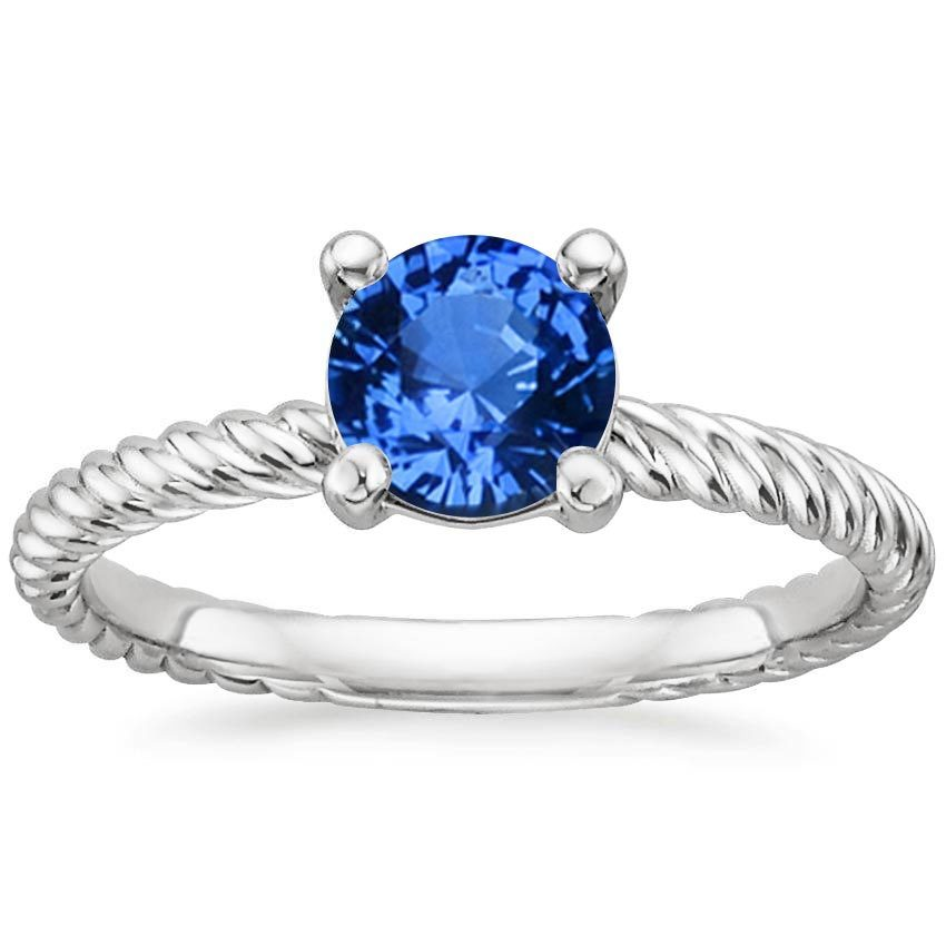 18K White Gold Sapphire Entwined Ring, top view