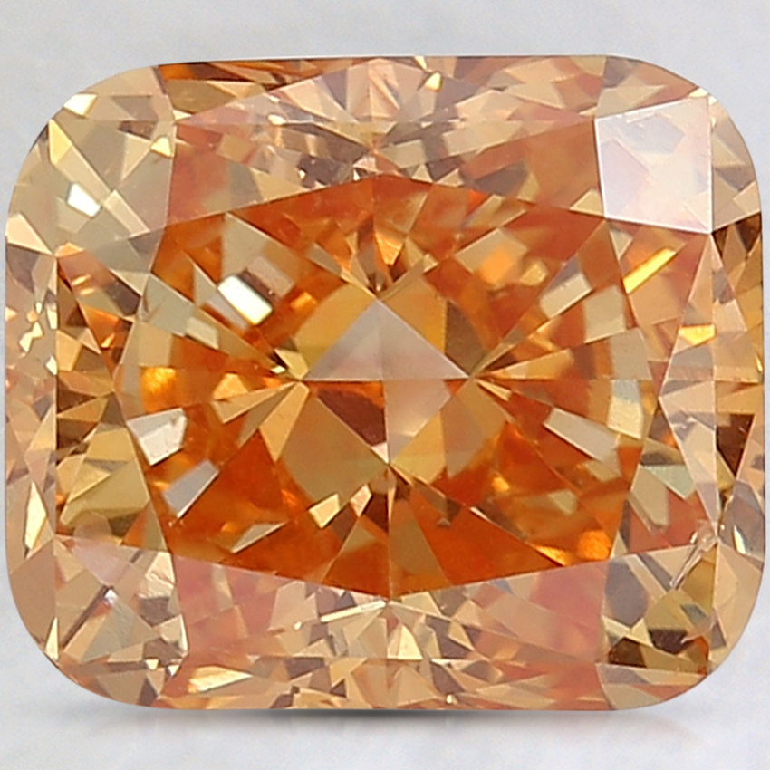 5.01 Ct. Fancy Intense Pinkish Orange Cushion Lab Created Diamond