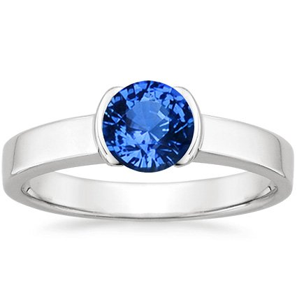 Sapphire Semi-Bezel Ring in Platinum with 6mm Round Blue Sapphire