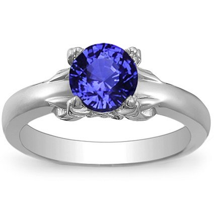 Platinum Sapphire Bouquet Ring, top view