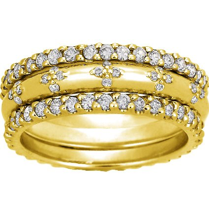 18K Yellow Gold Diamond Petals Ring Stack (over 1 ct.tw.), top view