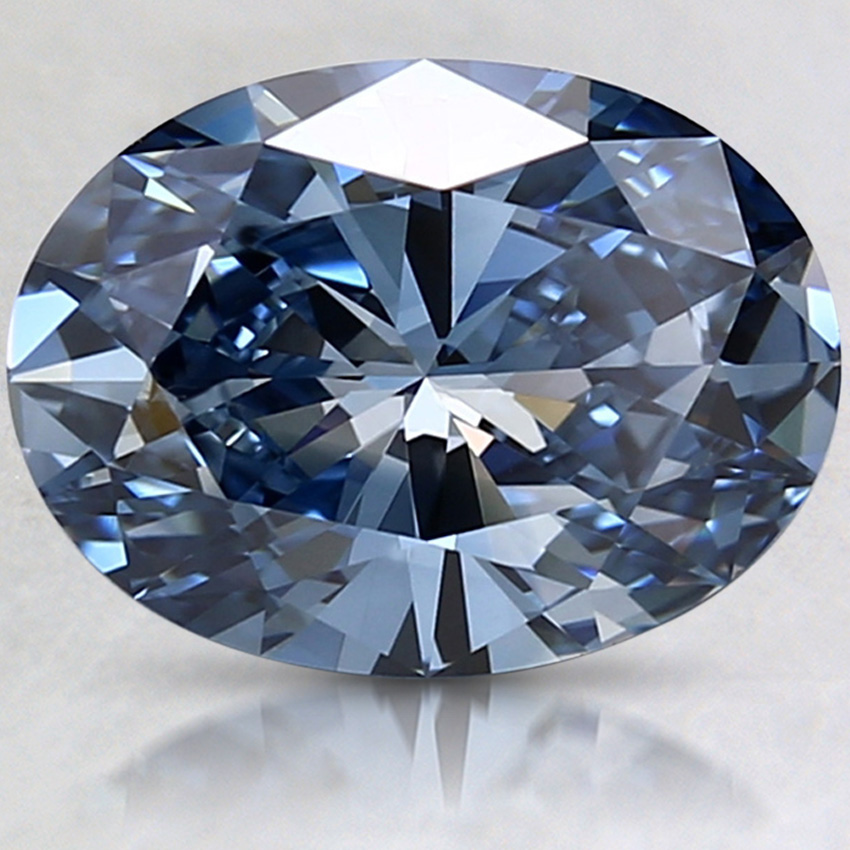 2.50 Ct. Fancy Dark Blue Oval Lab Created Diamond