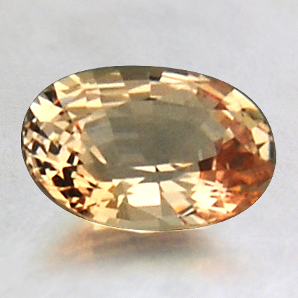8mm Orange Oval Sapphire, top view