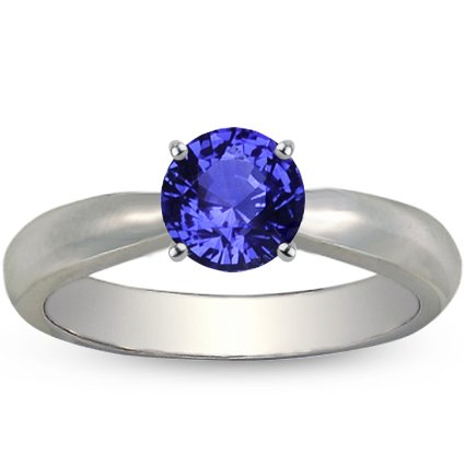 Platinum Sapphire Taper Ring, top view