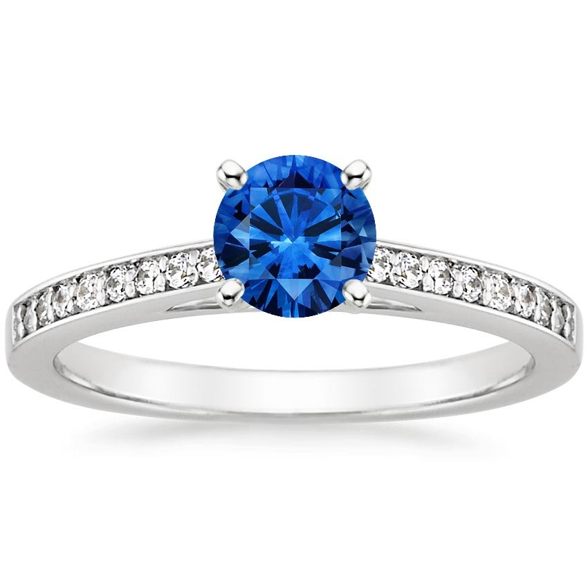 18K White Gold Sapphire Starlight Diamond Ring, top view