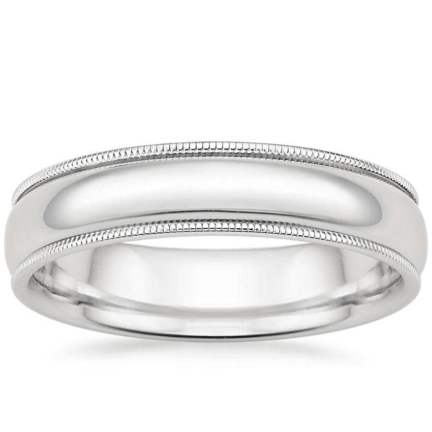 Platinum 5mm Milgrain Wedding Ring, top view
