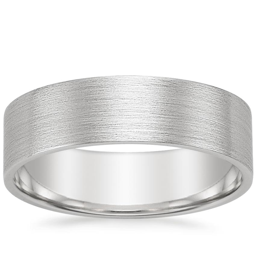 Platinum 7mm Flat Matte Comfort Fit Wedding Ring, top view