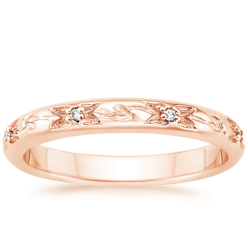 14K Rose Gold Flower Bud Diamond Ring, top view