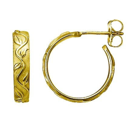 18K Yellow Gold Ivy Hoop Earrings, top view