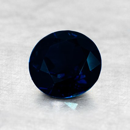 6mm Dark Blue Round Sapphire, top view