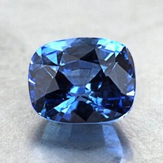 8x7mm Blue Cushion Sapphire, top view
