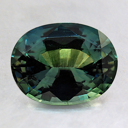 9X7mm Premium Teal Oval Sapphire, top view