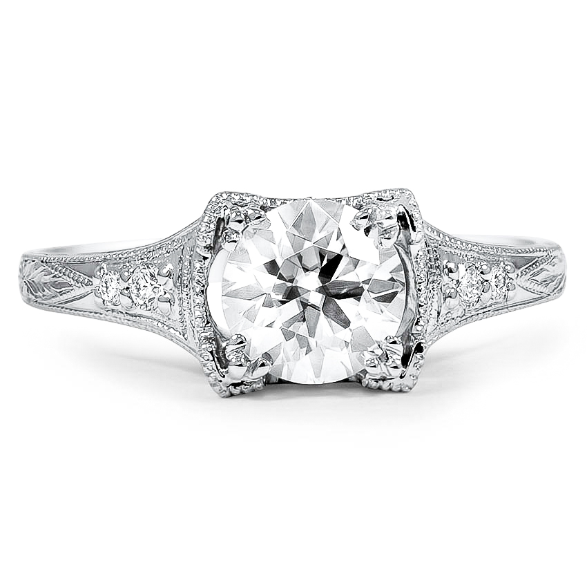 Custom Vintage-Inspired Diamond Ring with Hand Engraving and Milgrain Details