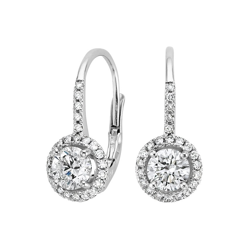 18K White Gold Luxe Halo Enchant Drop Earrings (1 1/4 ct. tw.), top view