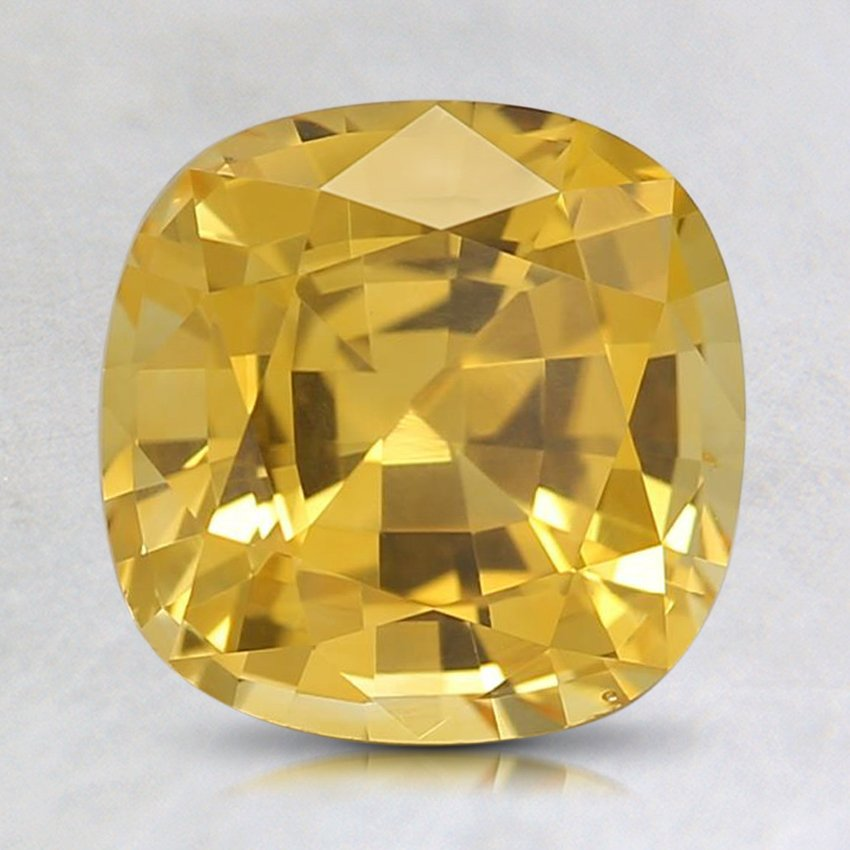 7.8x7.7mm Premium Yellow Cushion Sapphire, top view