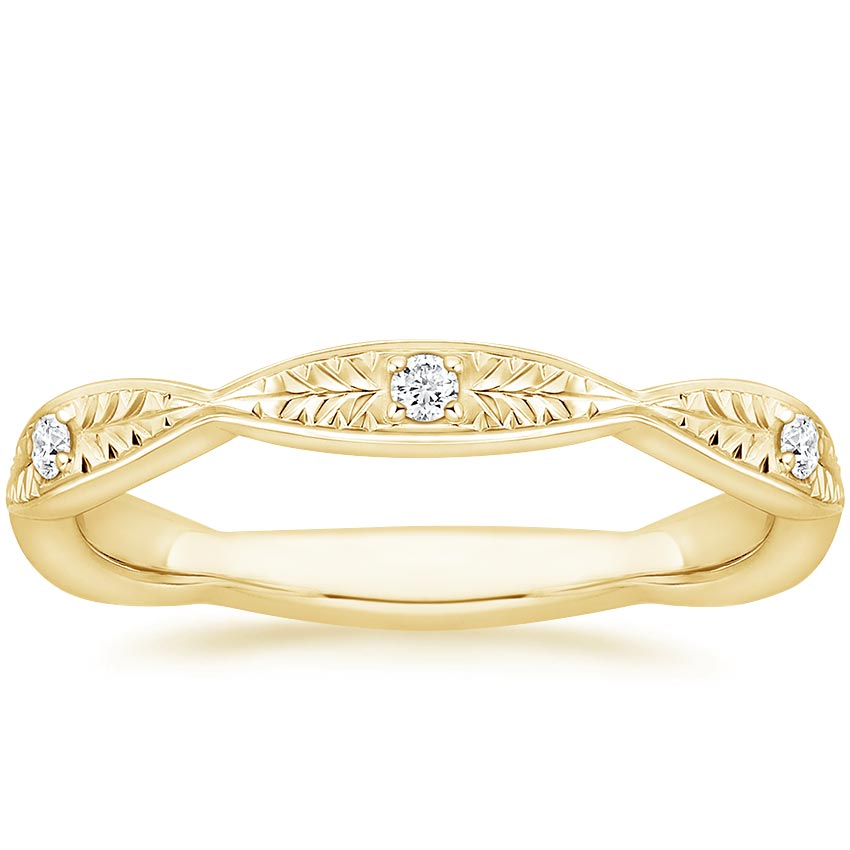 Yellow Gold Hand Engraved Diamond Ring